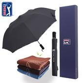 PGA 2단자동 로고바이어스+죽사 타올 우산선물세트