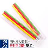 [국산]투명사각H무지개A연필3P세트