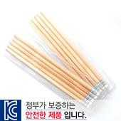 [국산]투명사각·원목나무연필5P세트