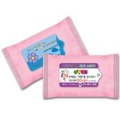 판촉용 분홍 물티슈 15매