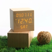 LED 나무 탁상시계 정사각형(대)