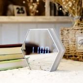 육각 미러시계 LED 탁상시계 거울시계