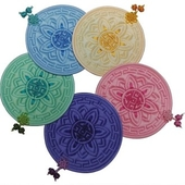 국산정품 - 고급 꽃문양 컵받침 (A형)