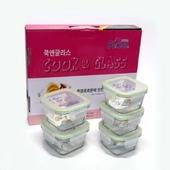 쿡앤글라스 밀폐용기 유리용기 10p5조세트