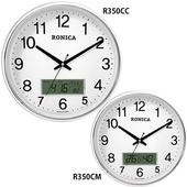 로니카 크롬유광 캘린더온도계시계 R350CC