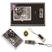 [USB세트/명함지갑/명함지갑세트] 채색십장생자개명함+가띠메탈자개USB 8GB