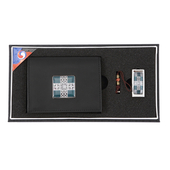 [명합지갑세트/USB세트] 창살문그린자개가죽명함지갑+가띠메탈자개USB 8GB