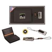 [명합지갑세트/USB세트] 채색송학자개가죽명함지갑+가띠메탈자개USB(8GB~64GB)