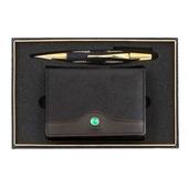 [볼펜세트/명합지갑세트]트리플문자도자개펜+청옥소가죽명함지갑