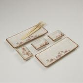 [접시세트] 백야화 핑크 생선접시 5P세트