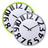 디자인볼록벽시계 화이트/그린[28CM]