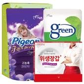 피죤 그린주방세제_정사각위생장갑(3종)