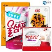 애경 울샴푸_곡물설거지300리필 정사각위생장갑(3종)