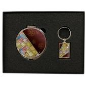 손거울+금속사각열쇠고리-조각보와인, 나비와목단(백)