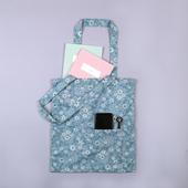 메이드유 플라워 투포켓형 에코백(블루) 33 x 37