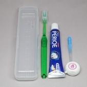 [칫솔세트] 이중모+사각케이스+치약+치간칫솔+치실