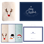 송월 루돌프+눈사람+산타 3매세트+쇼핑백 s