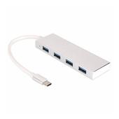 NEXONE 고강도 알루미늄 C타입 USB 3.0 4포트 허브 sy-052h 실버