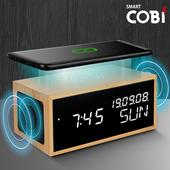 스마트코비 ES2019 흑경 블루투스스피커,무선충전시계/LED우드탁상시계