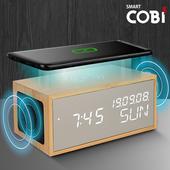 스마트코비 ES2019 밀러 블루투스스피커,무선충전시계/LED우드탁상시계