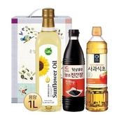 사피 페트해바라기유1L 청정원 진간장 사과식초(3종)