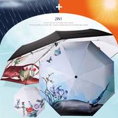 AUTO 자동 3단 양우산 - 파랑새 / 자외선차단 우산/암막/양산겸용