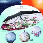 AUTO 자동 3단 양우산 - 꽃사과 / 자외선차단 우산/암막/양산겸용