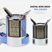 디지털 철망 펜홀더 시계 - 로고가능, 탁상시계, 연필꽃이, 펜꽂이,펜홀더,사무용품,시계