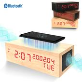 ]예스노타]무선충전 블루투스스피커 LED우드탁상시계(LED레드)