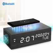 [예스노타]무선충전 블루투스스피커 LED우드탁상시계(LED화이트)
