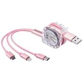 3in1 동시 충전 메탈 멀티 릴 충전케이블(마이크로 5핀+아이폰 8핀+C타입)