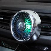 차량용 송풍구 서큘레이터 LED 무드등 USB 선풍기 3단조절