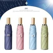 3단 암막 양우산 - 우드로제 / UV차단우산, 암막, 우산, 양산, 우산겸용양산, 암막양산, 암막양우산, 암막우산, 우양산, 양우산