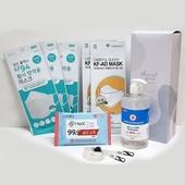 (코로나방역키트)KF94마스크3매+KF-AD마스크2매+손소독제500ml+손소독물티슈10매+마스크목걸이