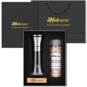 웰세스WG-011S 스텐레스그라인더 히말라야핑크솔트,블랙페퍼 선물세트, 100%암염,미네랄 핑크소금,통후추,그라인더세트