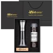 웰세스WG-011P 스텐레스그라인더 히말라야핑크솔트,블랙페퍼 선물세트, 100%암염,미네랄 핑크소금,천연소금,그라인더세트