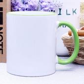 리빙화이트-직선핸들그린머그컵